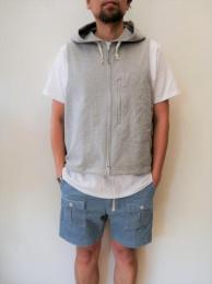 """Knit Hoody Vest (French Terry) """"Grey"""""""