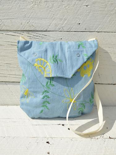 Shoulder Pouch (Denim Floral Embroidery)