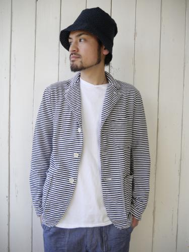 "Knit Jacket (St. French Terry) ""Navy×White"""