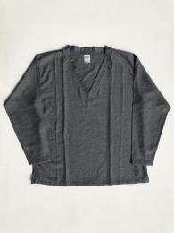 Side Slit V Neck Shirt (Pe/Ly/L Chambray)