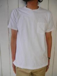 Crossover Neck Pocket Tee  (White)