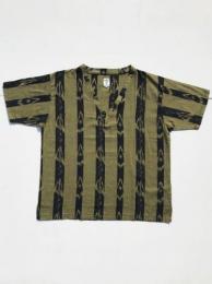 S/S V Neck Shirt (Ikat Stripe)