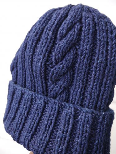 22F Cotton Denim Hand Knit Cap